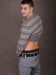 Cute boy Jace Bryant busts a nut over his stomach.