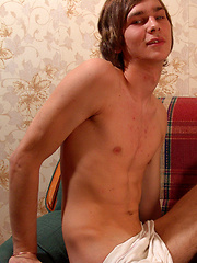 Longhaired twink Karl lets you scrutinize his body - and his nice-sized love rod - in this video...