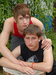 Fancy a quickie out the back?   These dirty twinks are up for it and they sneak out into the back...