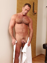 Roman Aleks is one hot beefy muscle daddy. And he is on Jake massage table