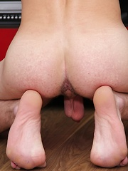 Hard bodied Manny tugs on his long smooth cock.