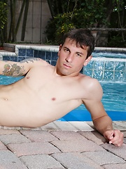 Scotty is enjoying a nice relaxing swim in the pool before he heads inside for an interview with the director