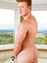 Kevin Long brings a bit of midwestern modesty to the table as this ginger haired cutie coyly plays with the camera