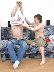Jack and Zack fuck each other hard on the sofa.